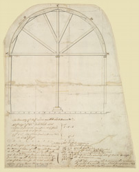 Elevation of the centering used in erecting the arches of the magazines at Purfleet, with estimates of the cost